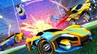 Rocket League cars pre-rendered screenshot art in front of an explosion