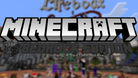 Title screen of Minecraft Bedrock Edition in its signature blocky shapes in vibrant colours.