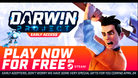 Promotional poster showing that Darwin Project is going free to play.