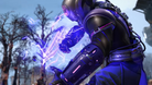 Screenshot from XCOM 2 showing a Templar unit booting up his purple coloured psy powers.