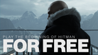 Agent 47 is in the mountains, wearing a puff jacket to keep himself warm.
