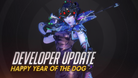 Widowmaker in a Chinese style dress posing with her sniper rifle