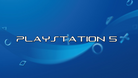 PlayStation 5 text over a blue background.
