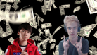 Famous League of Legends and Fortnite players in front of a money rain.