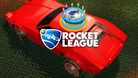 Rocket League's celebration car with a cake on top