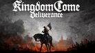 Kingdom Come: Deliverance logo and a man riding his horse