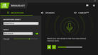 NVIDIA Broadcast app Tool Application Audio settings