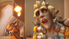 Junkrat lighting a fuse with a satisfied look on his face