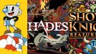 A collage of Cuphead, Hades, and Shovel Knight cover art