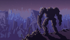 A mech on a cliff overlooking a ruined city in the apocalyptic invasion of huge monsters.
