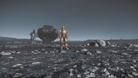 A space pilot lands in Star Citizen