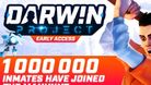 Poster showing that Darwin Project has reached one million players