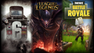 Rainbow Six Siege, League of Legends and Fortnite Battle Royale promo pictures.