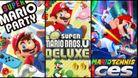 Super Mario Party, Super Mario Bros U Deluxe and Super Mario Tennis Aces covers