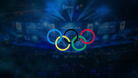 Esport arena during a match with a Olympics logo