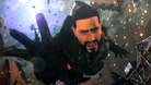 Metal Gear Survive's protagonist being sucked into a bluish wormhole.