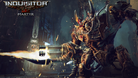 Huge robot is shooting a gatling gun in Warhammer 40K: Inquisitor - Martyr
