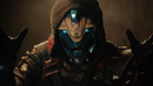 Cayde-6 sitting in a bar, demonstrating an explosion with his hands