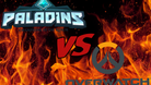 Mock up of a fictional fight between the games Paladins and Overwatch in a traditional fighting game versus screen.