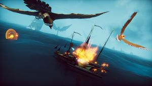 The Falconeer bird setting a ship on fire