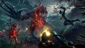 Shadow Warrior 2 promotional image of people ganging up on a monster with weapons