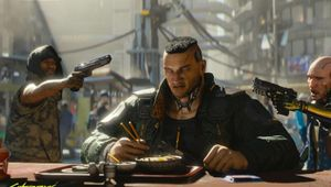 A man having dinner, surrounded by gunmen in Cyberpunk 2077