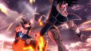 Dragon Ball Xenoverse 2 screenshot showing Turles kicking Goku in the stomach.
