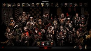 Darkest Dungeon - Butcher's Circus DLC artwork showing several heroes