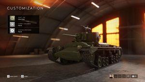 Battlefield V tank customisation screen
