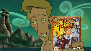 Guybrush Threepwood holding Escape from Monkey Island