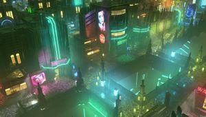 Screenshot of a cyberpunk city in Satellite Reign