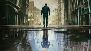 twin mirror screenshot showing a man walking over a puddle