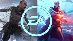 EA logo over Apex Legends and Battlefield V artwork