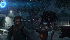 Buzzsaw monster is creeping behind Sebastian.