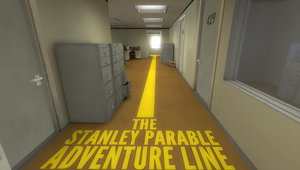A yellow line used by the Narrator to tell the player where Stanley would go next.