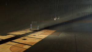 NBA 2K21 screenshot showing a basketball court