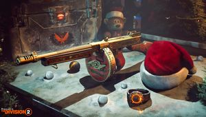 artwork showing gold tommy gun and santa hat from the division 2