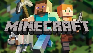 Two Minecraft: Java Edition characters, a dog and game logo