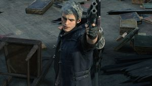 Picture of Nero aiming his Blue Rose revolver in Devil May Cry 5