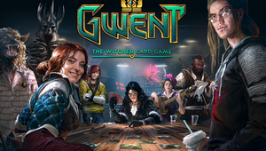 A bunch of cosplayers playing GWENT on their game poster.