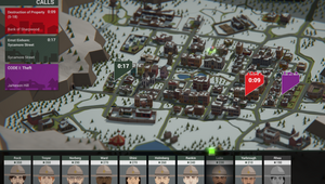 This is the Police 2 screenshot showing a cop roster and a town overview.