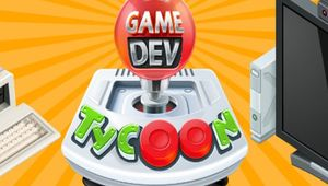 Red, green, orange and gray poster for Game Dev Tycoon.