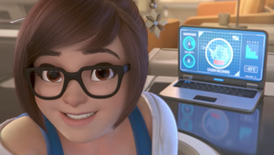 Mei from Overwatch, a screenshot from her animated short, Rise and Shine