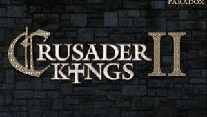Promotional picture for Crusader Kings 2 showing the golden letters on a black background.