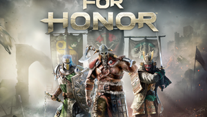 For Honor title screen showing the Warden, the Raider and Kensei.