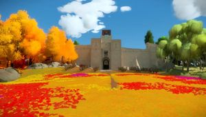 The Witness screenshot showing a fort with field in front of its gate
