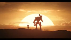 Picture of a pilot and a titan in a Titanfall 2 sunset