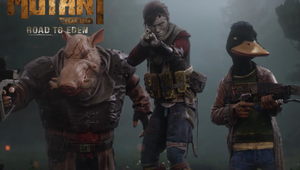 Three player characters from Mutant Year Zero are moving with their guns.