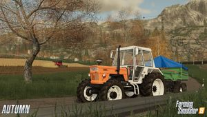 Tractor driving through countryside in Farming Simulator 19