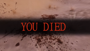 A player has died in Skyrim while playing with Dark Souls mod and the game is informing them of their demise